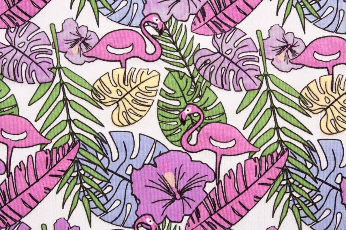 05m Jersey UV Farbwechslerstoff Flamingo Blätter
