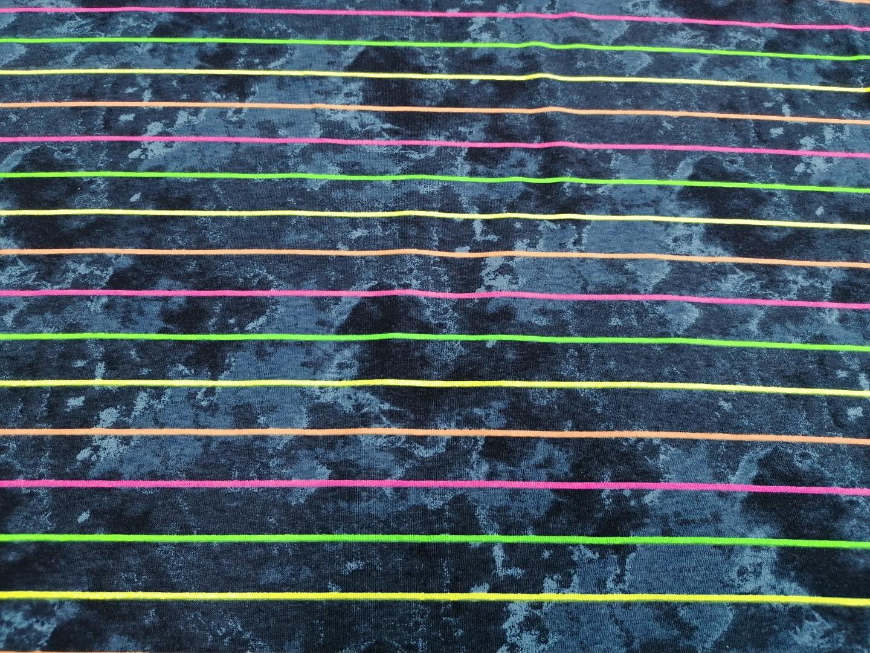 05m Jersey Neon Streifen Jeansstyle navy