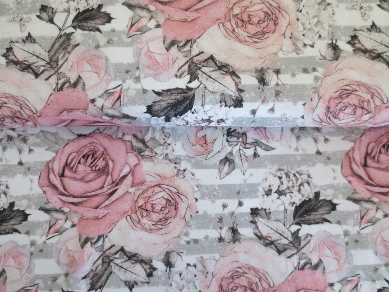 05m Jersey Rosen Hortensien auf Streifen