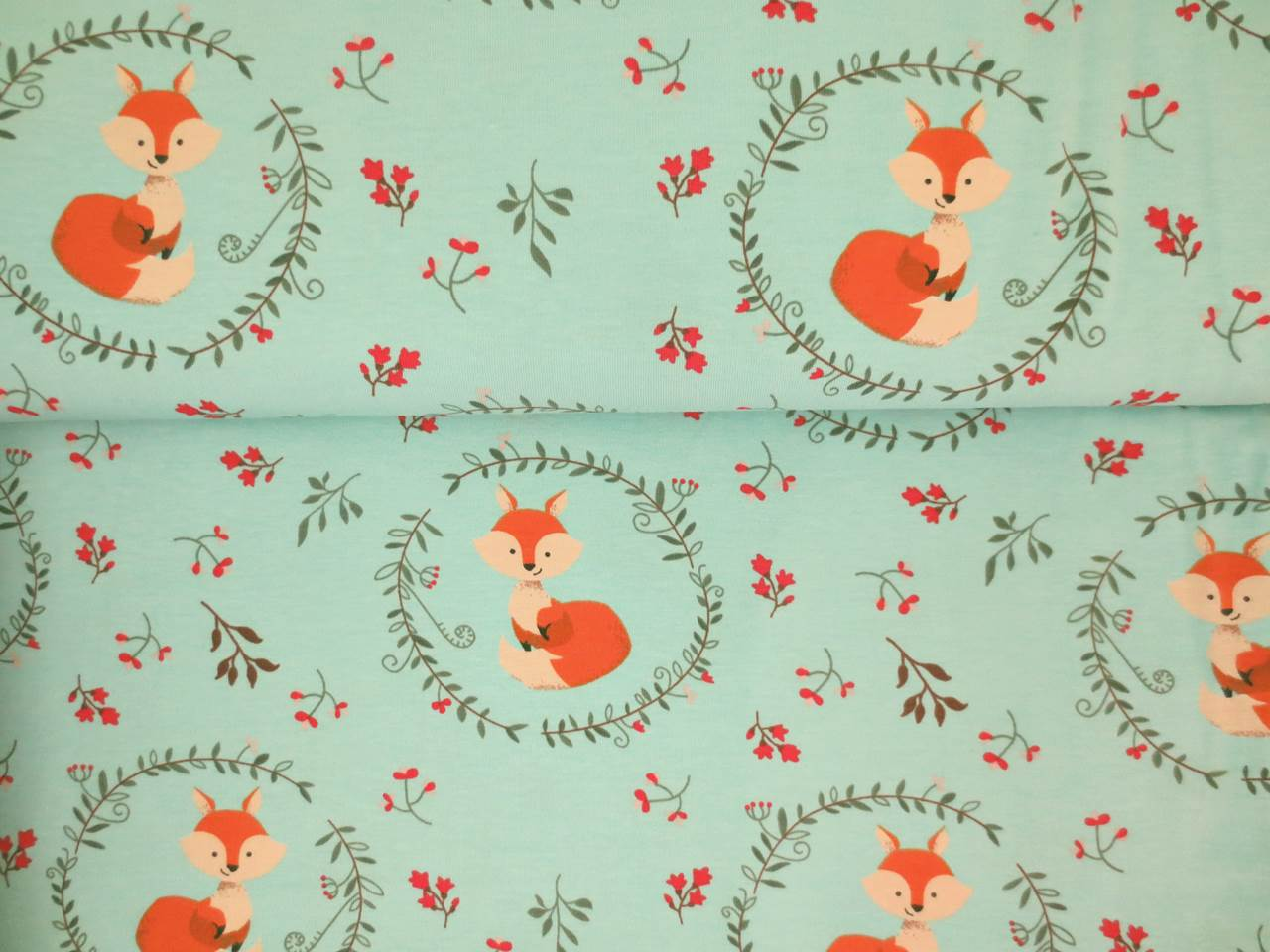 05m Jersey Fuchs im Blätterkranz helltürkis