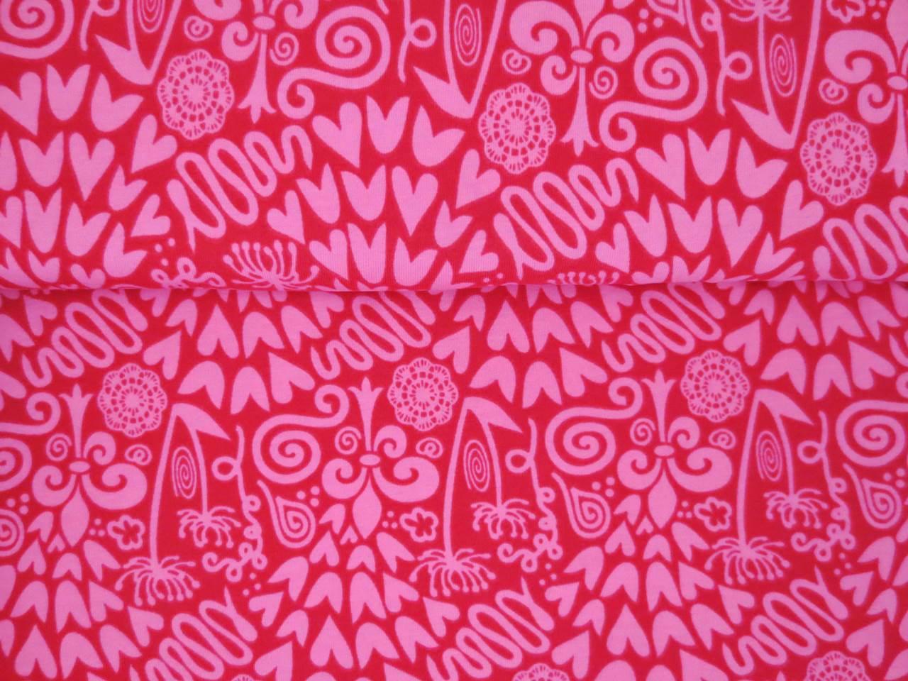 05m Jersey Ornamente Herzen Dolden magenta