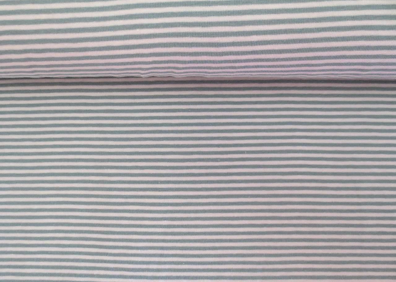05m Jersey Ringel Streifen mint creme