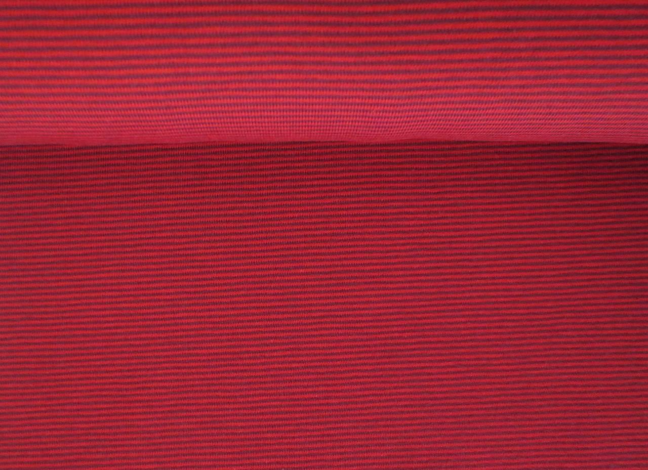 05m Jersey Miniringel Mini Streifen dunkelrot
