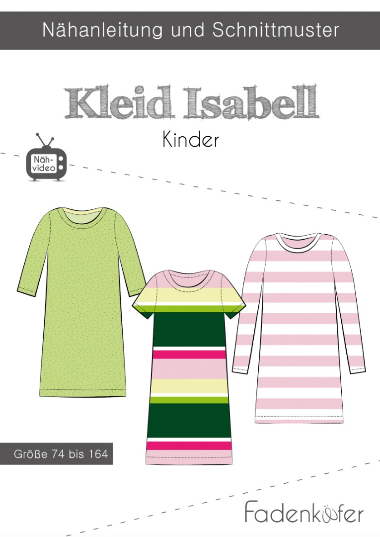 Papierschnittmuster Fadenkäfer Kleid Isabell Kids Gr