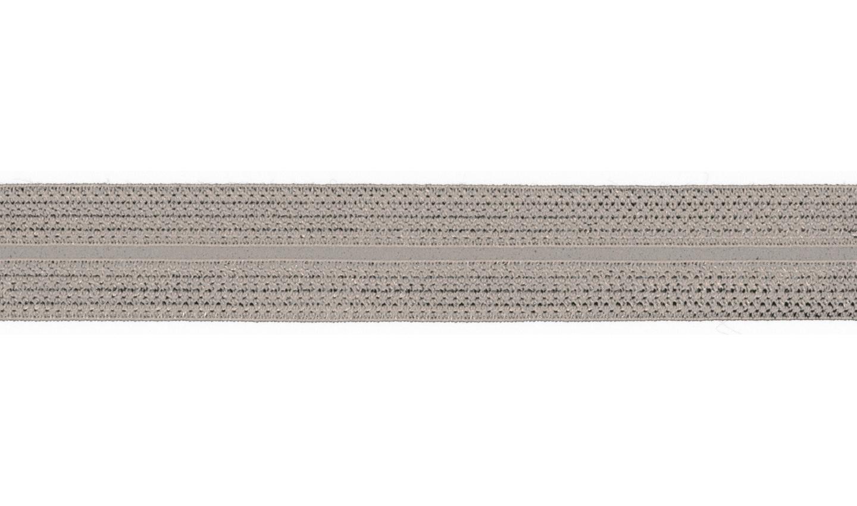 1m Jaquard Schrägband elastisch 20mm silber
