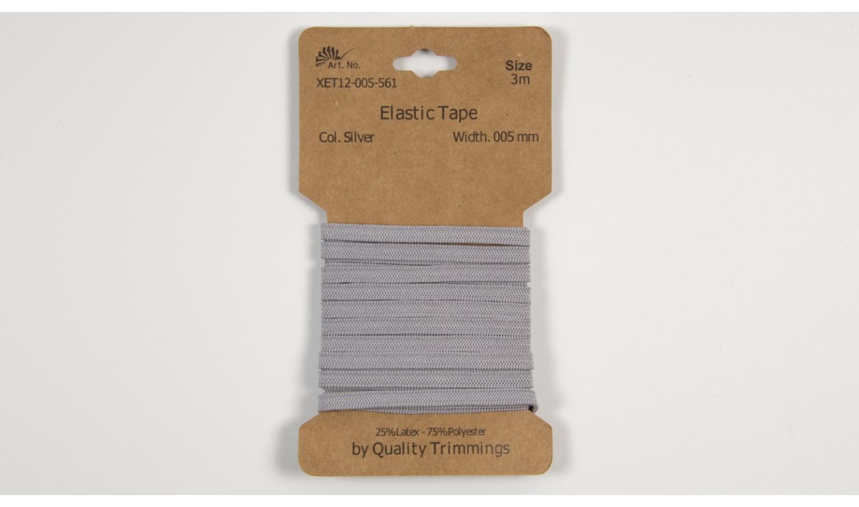 3m FLACHGUMMI Elastic Tape 5mm hellgrau