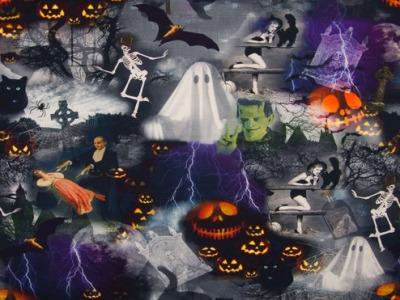 05m Jersey Halloween Skelett Kürbis Katze