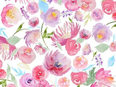 05m Jersey Aquarellblüten Blumen Digitaldruck weiß