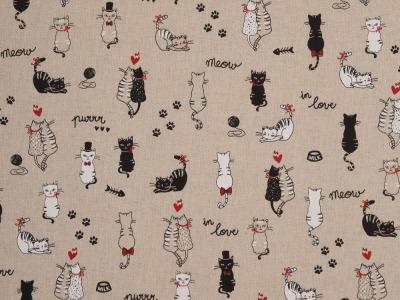 05m Canvas Leinen Look Katze Cats