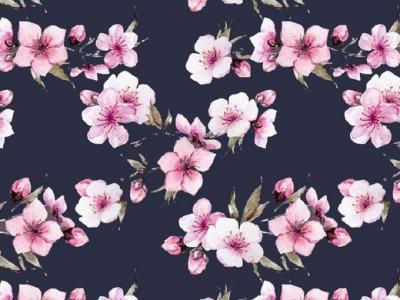 05m Jersey Kirschblüte Digitaldruck dunkelblau pink