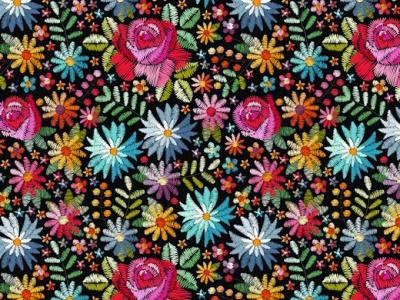 05m Jersey Digitaldruck Flowers Stickerei schwarz