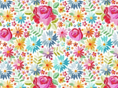 05m Jersey Digitaldruck Flowers Stickerei ecru