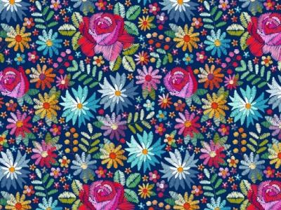 05m Jersey Digitaldruck Flowers Stickerei jeans