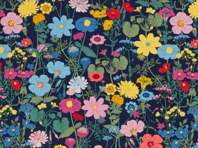 05m Jersey Vintage Botanical Blumen navy