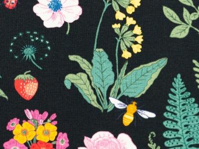 05m Jersey Vintage Botanical Blumen schwarz