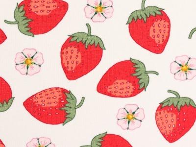 05m Jersey Vintage Botanical Erdbeeren weiß