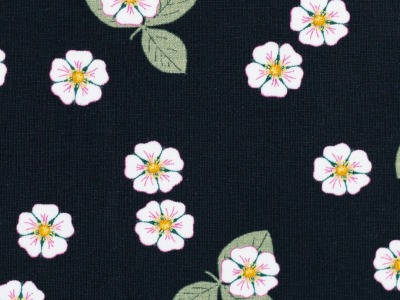 05m Jersey Vintage Botanical Erdbeerblüten schwarz