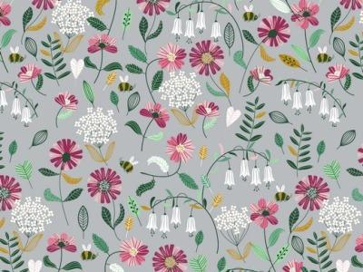 05m BW Flower Blumen grau bunt