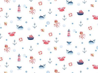 05m Jersey Digitaldruck Meer Wal Summer
