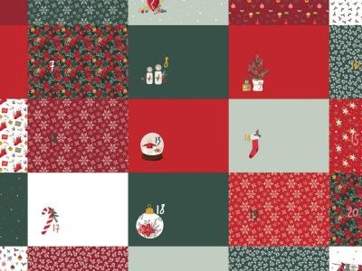 Panel Adventskalender Säckchen rot weiß grün
