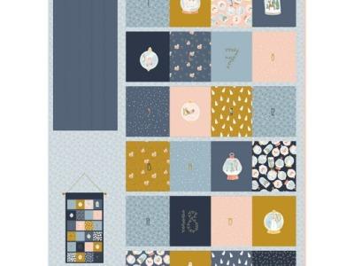 Panel Adventskalender Weihnachten Wand-Utensilo blau senf