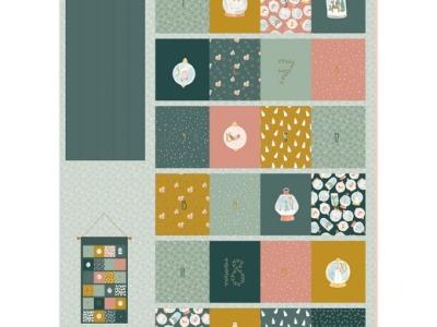 Panel Adventskalender Weihnachten Wand-Utensilo grün senf