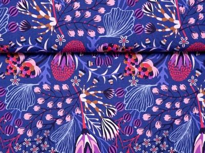 05m Jersey Unterwasser Blumen Pflanzen jeansblau