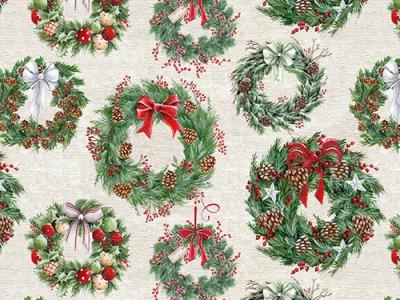 05m BW Weihnachtskranz Adventskranz ecru grün