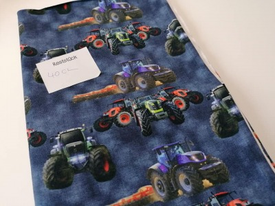 04m Sommersweat Traktor Digitaldruck blau bunt