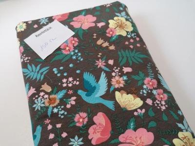 15m Jersey Blumen Vögel braun lachs
