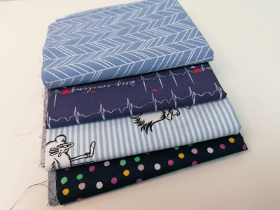 Angebot: 1m Restepaket Baumwolle 4x025m blau