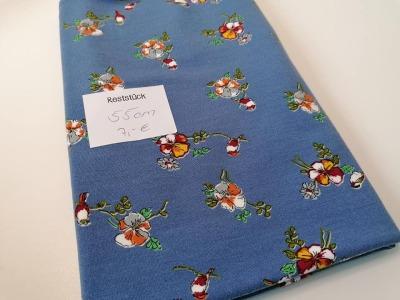 055m Modalsweat Blumen jeansblau bunt Reststück