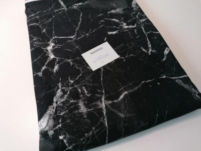 1m Jersey Digitaldruck Marmor schwarz grau