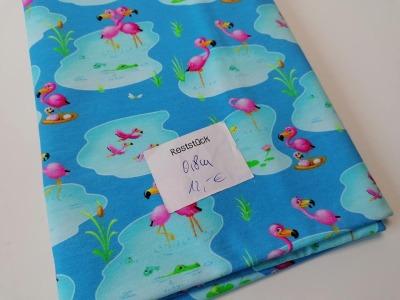08m Jersey Flamingos türkis bunt Reststück