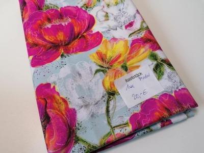 1m Lillestoff Modaljersey Blumen pink bunt