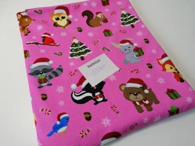06m Jersey Weihnachtstiere pink bunt
