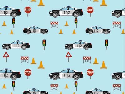 05m Jersey Polizeiautos hellblau bunt