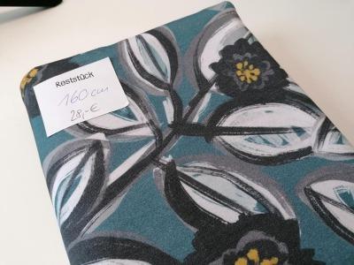 16m Lillestoff Modaljersey Blumen petrol schwarz