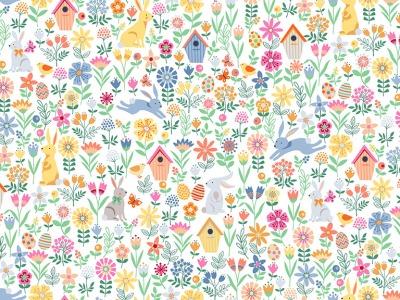 05m BW Spring Allover Osterhase Blumen