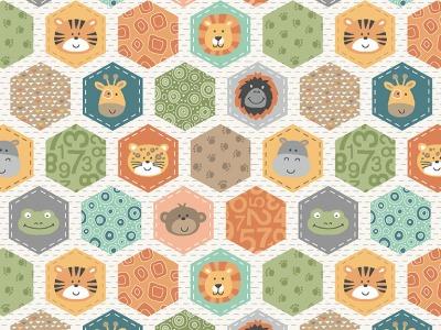 05m BW Jungle Friends Hexagons weiß