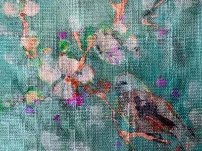 05m Viscose Leinen Digitaldruck Zweige Vögel