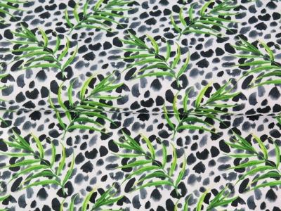 05m BW Animalprint Flecken Palme weiß