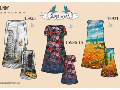 1Stk LINDY Damenkleid Papier Schnittmuster by