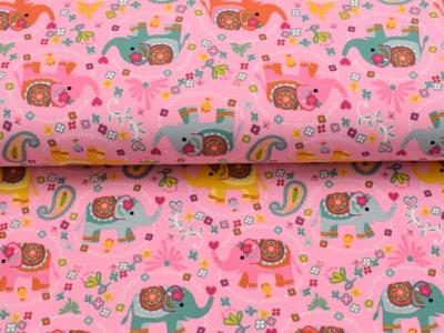 05m Jersey Kunterbunter Blümchen Elefant rosa
