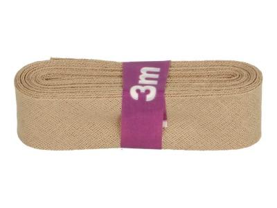 3m Baumwollschrägband uni 2cm breit hellbraun