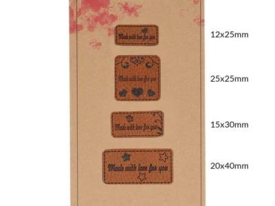 Pck Handmadel Label Kunstleder Made with