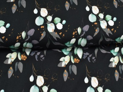 05m Jersey Digitaldruck Eukalyptus Blätter Dark&Gold