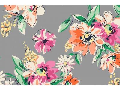 05m Jersey Blumen Wassermalfarben taupe weiß