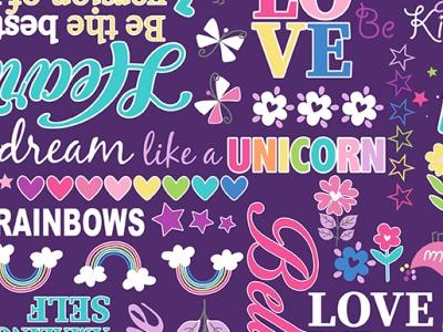 025m BW Unicorn Magic Magical Words