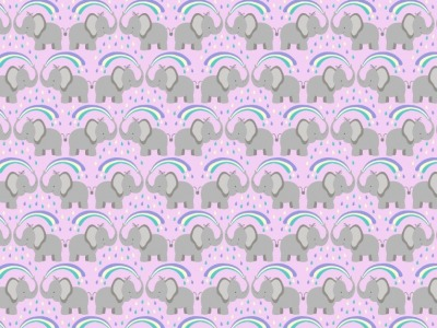 05m BW Rainbow Elephants on light